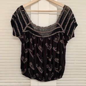 Free people black embroidered bubble mesh top